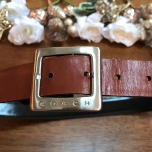 Coach Brown Leather Belt with Silver Clasp Medium